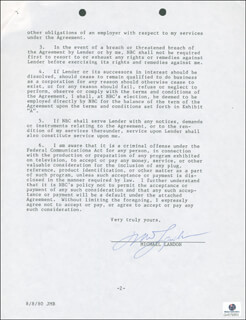 MICHAEL LANDON - DOCUMENT SIGNED 07/24/1980