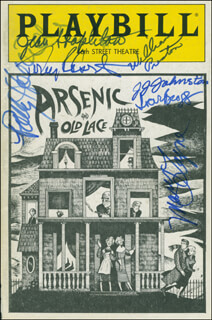 Autographs: ARSENIC AND OLD LACE PLAY CAST - SHOW BILL COVER SIGNED CO-SIGNED BY: TONY (ANTHONY) ROBERTS, ABE VIGODA, POLLY HOLLIDAY, JEAN STAPLETON, J. J. (JAMES) JOHNSTON, WILLIAM PRESTON, MARY LAYNE