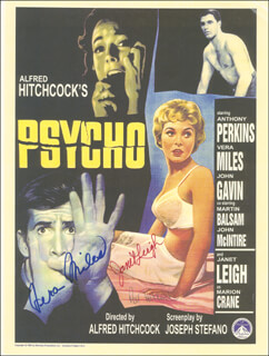 PSYCHO! MOVIE CAST - ADVERTISEMENT SIGNED CO-SIGNED BY: VERA MILES, JANET LEIGH, PATRICIA PAT HITCHCOCK