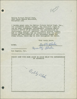 Autographs: ROBERT BLAKE - DOCUMENT DOUBLE SIGNED CIRCA 1946