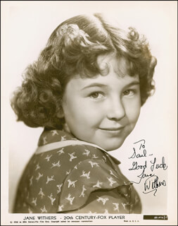JANE WITHERS - AUTOGRAPHED INSCRIBED PHOTOGRAPH CIRCA 1939