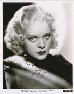 ALICE FAYE - AUTOGRAPHED INSCRIBED PHOTOGRAPH CIRCA 1935
