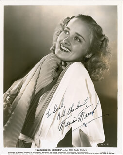 MARIAN MARSH - AUTOGRAPHED INSCRIBED PHOTOGRAPH CIRCA 1940