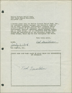 TED DONALDSON - DOCUMENT DOUBLE SIGNED 07/03/1946