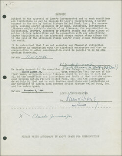 CLAUDE JARMAN JR. - DOCUMENT DOUBLE SIGNED 11/08/1946