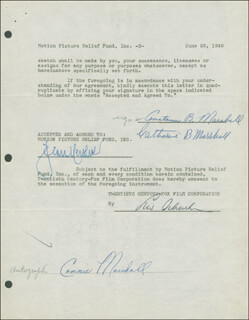 CONNIE MARSHALL - DOCUMENT DOUBLE SIGNED 06/26/1946 CO-SIGNED BY: JEAN HERSHOLT, CATHARINE B. MARSHALL