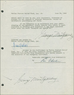GEORGE MONTGOMERY - DOCUMENT DOUBLE SIGNED 06/26/1946