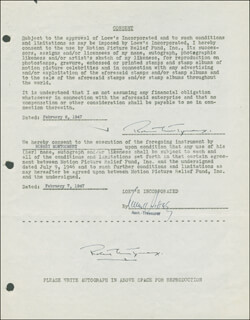 ROBERT MONTGOMERY - DOCUMENT DOUBLE SIGNED 02/07/1947
