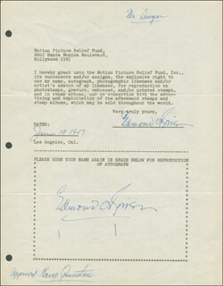 EDMOND O'BRIEN - DOCUMENT DOUBLE SIGNED 06/19/1947