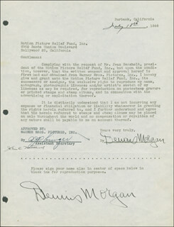 DENNIS MORGAN - DOCUMENT DOUBLE SIGNED 07/18/1946