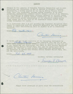 CHESTER MORRIS - DOCUMENT DOUBLE SIGNED 02/24/1947
