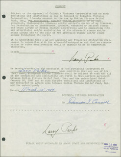 LARRY PARKS - DOCUMENT DOUBLE SIGNED 03/15/1947