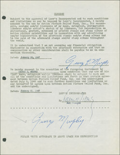 GEORGE MURPHY - DOCUMENT DOUBLE SIGNED 01/20/1947