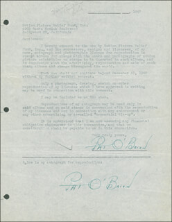 PAT O'BRIEN - DOCUMENT DOUBLE SIGNED CIRCA 1947