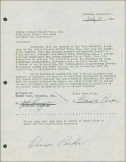ELEANOR PARKER - DOCUMENT DOUBLE SIGNED 07/27/1946