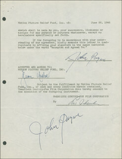JOHN PAYNE - DOCUMENT DOUBLE SIGNED 06/26/1946