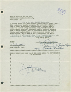 JACKIE COOPER - DOCUMENT DOUBLE SIGNED 07/13/1946 CO-SIGNED BY: JUNE HORNE