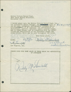 RODDY McDOWALL - DOCUMENT DOUBLE SIGNED 01/16/1947