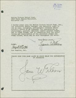 JANE WITHERS - DOCUMENT DOUBLE SIGNED 08/12/1946