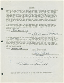 WILLIAM POWELL - DOCUMENT DOUBLE SIGNED 11/16/1946
