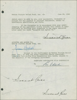 VINCENT PRICE - DOCUMENT MULTI-SIGNED 06/26/1946