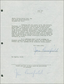 JOAN CAULFIELD - DOCUMENT DOUBLE SIGNED 06/12/1946