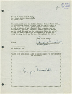 BURGESS MEREDITH - DOCUMENT DOUBLE SIGNED 07/11/1946