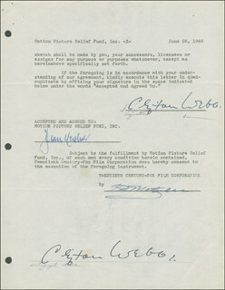 CLIFTON WEBB - DOCUMENT DOUBLE SIGNED 06/26/1946 CO-SIGNED BY: JEAN HERSHOLT
