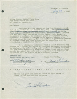 ANN THE OOMPH GIRL SHERIDAN - DOCUMENT DOUBLE SIGNED 07/23/1946
