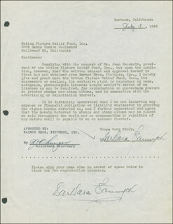BARBARA STANWYCK - DOCUMENT DOUBLE SIGNED 07/18/1946