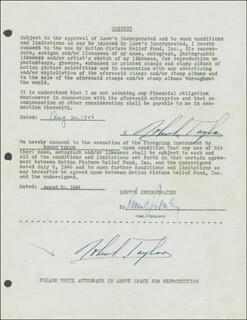 ROBERT TAYLOR - DOCUMENT DOUBLE SIGNED 08/20/1946
