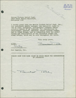 FRANCHOT TONE - DOCUMENT DOUBLE SIGNED 07/15/1946