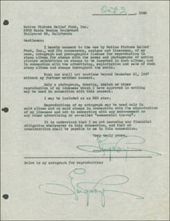GINGER ROGERS - DOCUMENT DOUBLE SIGNED 10/02/1946
