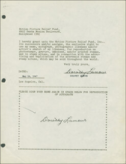 DOROTHY LAMOUR - DOCUMENT DOUBLE SIGNED 05/14/1947