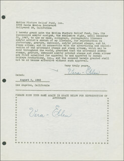 VERA-ELLEN ROHE - DOCUMENT DOUBLE SIGNED 08/09/1946