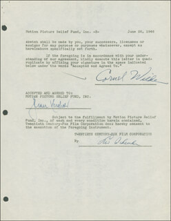 CORNEL WILDE - DOCUMENT DOUBLE SIGNED 06/26/1946