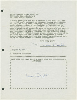 TERESA WRIGHT - DOCUMENT DOUBLE SIGNED 08/07/1946