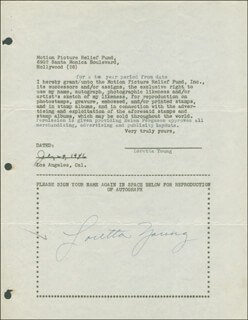 LORETTA YOUNG - DOCUMENT SIGNED 07/29/1946