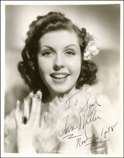 ANN MILLER - AUTOGRAPHED INSCRIBED PHOTOGRAPH CIRCA 1938