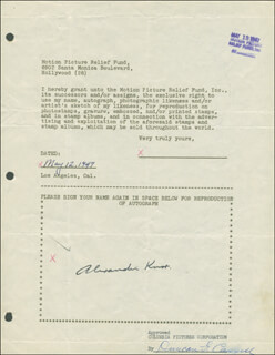 ALEXANDER KNOX - DOCUMENT SIGNED 05/12/1947