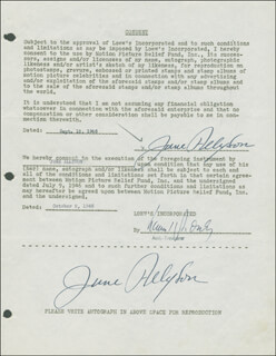 JUNE ALLYSON - DOCUMENT DOUBLE SIGNED 09/12/1946