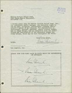 Autographs: BRIAN AHERNE - DOCUMENT MULTI-SIGNED 08/23/1946