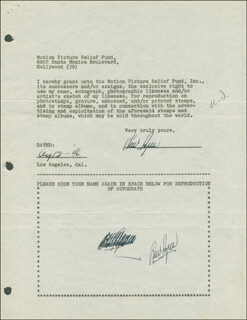 Autographs: LEW AYRES - DOCUMENT DOUBLE SIGNED 08/12/1946