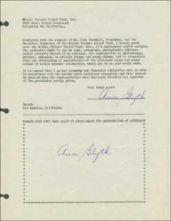 ANN BLYTH - DOCUMENT DOUBLE SIGNED