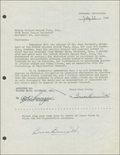 BRUCE (HERMAN BRIX) BENNETT - DOCUMENT DOUBLE SIGNED 07/22/1946