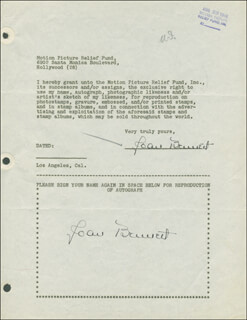Autographs: JOAN BENNETT - DOCUMENT DOUBLE SIGNED 08/23/1946