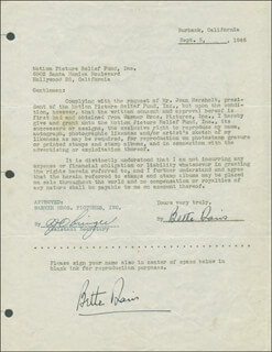 BETTE DAVIS - DOCUMENT DOUBLE SIGNED 09/05/1946