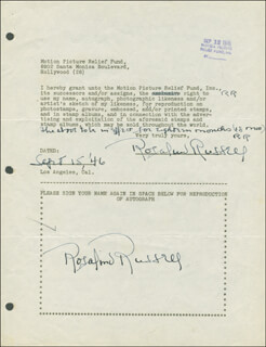 ROSALIND RUSSELL - DOCUMENT DOUBLE SIGNED 09/15/1946