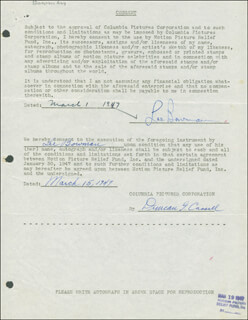 Autographs: LEE BOWMAN - DOCUMENT SIGNED 03/01/1947