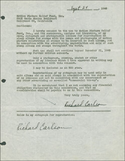 RICHARD CARLSON - DOCUMENT DOUBLE SIGNED 09/24/1946